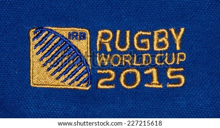 ZAGREB , CROATIA - OCTOBER 31 , 2014 :  Logo for Rugby world cup 2015 printed on textile, product shot - stock photo
