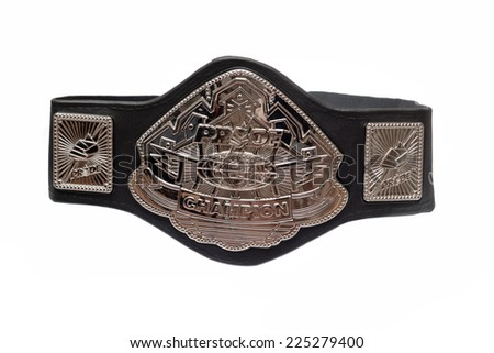 ZAGREB , CROATIA - OCTOBER 22 , 2014 :  Pride fighting championship belt isolated  ,product shot - stock photo