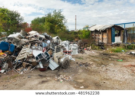 ZAGREB, CROATIA - OCTOBER 21, 2013: Ruined Roma Shack made from broken construction parts.