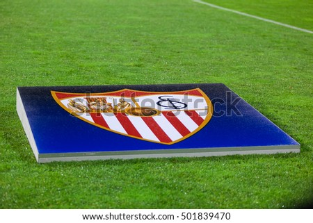 ZAGREB, CROATIA - OCTOBER 18, 2016: UEFA Champions League 2015-16 Group H - GNK Dinamo Zagreb VS FC Sevilla. Sevilla's banner on the pitch.