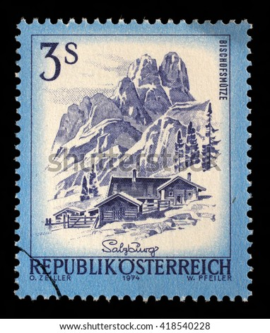 ZAGREB, CROATIA - SEPTEMBER 13: A stamp printed in Austria shows Bishofsmutze, from the series Sights in Austria, circa 1974, on September 13, 2014, Zagreb, Croatia - stock photo