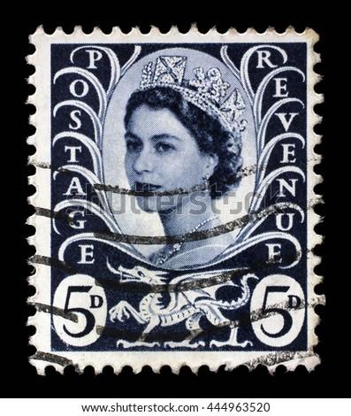 ZAGREB, CROATIA - SEPTEMBER 18: A Welsh Used Postage Stamp showing Portrait of Queen Elizabeth 2nd, circa 1958 to 1969, on September 18, 2014, Zagreb, Croatia - stock photo