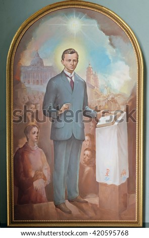 ZAGREB, CROATIA - SEPTEMBER 14: Blessed Ivan Merz, altarpiece in the Basilica of the Sacred Heart of Jesus in Zagreb, Croatia on September 14, 2015.