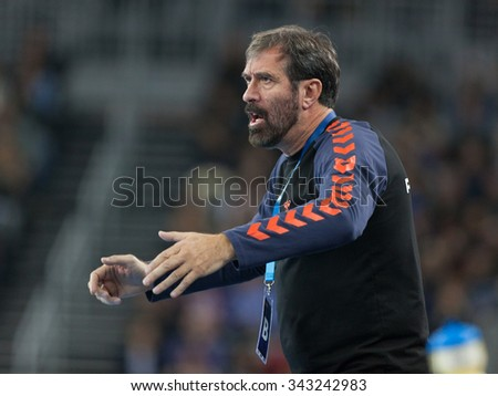 ZAGREB, CROATIA - SEPTEMBER 21, 2015: EHF Men's Champions League, Group (A) phase. Match between HC Zagreb PPD and HC Flensburg-Handewitt. Zagreb's head coach VUJOVIC Veselin.