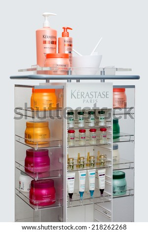 ZAGREB , CROATIA - SEPTEMBER 16 , 2014 -  Kerastase hair products , shampoo, mask, hairspray on the table , product shot