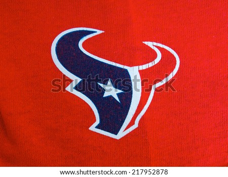 ZAGREB , CROATIA - SEPTEMBER 17 , 2014 :  NFL Houston Texans club equipment logo printed on textile, product shot - stock photo