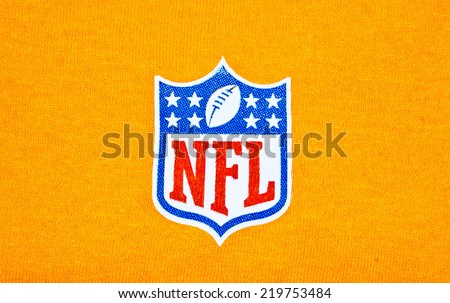 ZAGREB , CROATIA - SEPTEMBER 26 , 2014 :  NFL logo printed on textile equipment ,product shot - stock photo