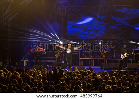 ZAGREB, CROATIA - SEPTEMBER 17, 2016: Opca opasnost rock band on concert on Salata stadium in Zagreb
