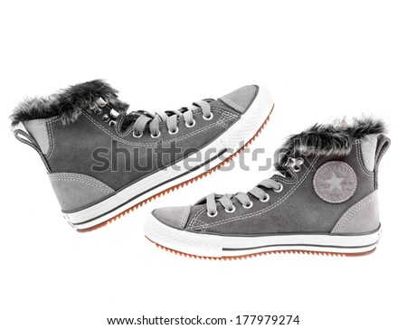 ZAGREB , CROATIA - SEPTEMBER 11, 2013 : Pair of all stars converse shoes on white background, product shot