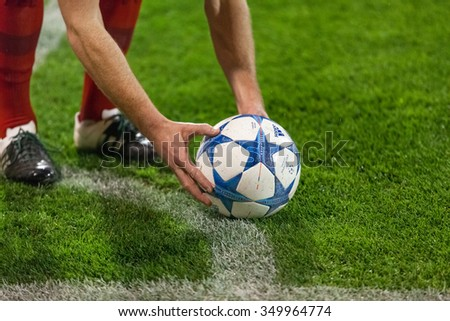 ZAGREB, CROATIA - SEPTEMBER 16, 2015: UEFA Champions League 2015-16 Group F - GNK Dinamo Zagreb VS FC Bayern Munchen. Bayern player placing the ball on pitch.