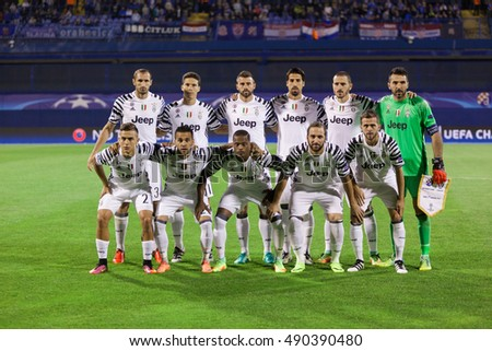 ZAGREB, CROATIA - SEPTEMBER 27, 2016: UEFA Champions League 2015-16 Group H - GNK Dinamo Zagreb VS FC Juventus. Juventus players posing before the match.