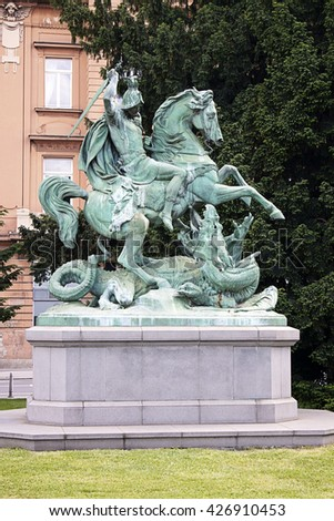 Zagreb, Croatia:Statue of St. George Slaying the Dragon by Anton Dominik von Fernkorn