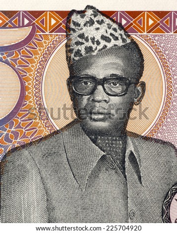ZAIRE - CIRCA 1985: Mobutu Sese Seko (1930-1997) on 5 Zaires 1985 Banknote from Zaire. President of the Democratic Republic of the Congo during 1965-1997. - stock photo