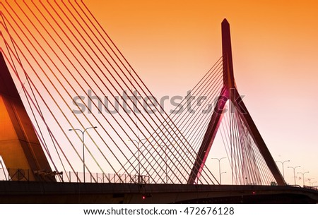 Zakim Bunker Hill Memorial Bridge at night in Boston, Massachusetts, USA