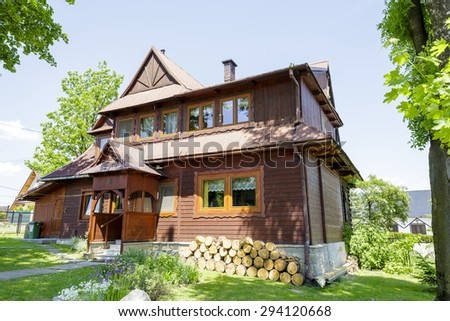 ZAKOPANE, POLAND - JUNE 13, 2015: Residential building, built of wood approx. 1926, listed in the municipal register of architectural heritage