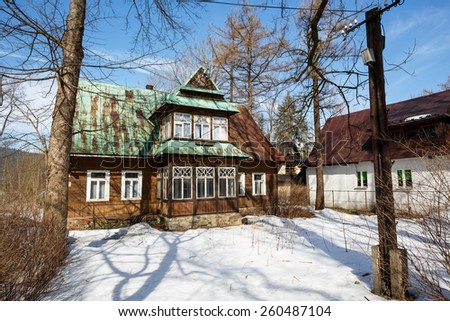 ZAKOPANE, POLAND - MARCH 10, 2015: Made of wood Villa Marya, built in 1902, located at Witkiewicz street, listed in the municipal register of architectural heritage