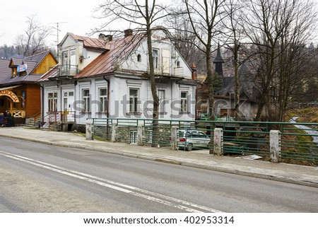 ZAKOPANE, POLAND - MARCH 08, 2016: Villa named Bright House (Jasny Domek), built of brick approx. 1905, listed in the municipal register of architectural heritage