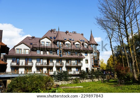 ZAKOPANE, POLAND - OCTOBER 14, 2014: Litwor Hotel, five-star hotel built in 1999, offers 51 luxurious rooms, located just off the Krupowki street, the main shopping and pedestrian promenade in city