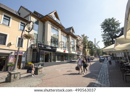 ZAKOPANE, POLAND - SEPTEMBER 12, 2016: Commercial premises located in modern shopping mall that is located along the main pedestrian street in the city named Krupowki