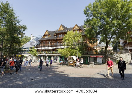 ZAKOPANE, POLAND - SEPTEMBER 12, 2016: Europejska, famous Cafe that is located in Zwolinski House which was built in 1900. The house is placed by the Krupowki street in the downtown