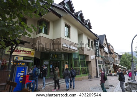 ZAKOPANE, POLAND - SEPTEMBER 20, 2016: McDonalds restaurant branch that was built in the years 1993-1995 is located at Krupowki street in downtown