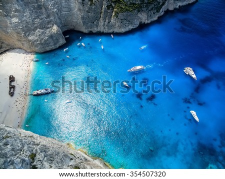 Zakynthos, Greece - August 11, 2015: View of Navagio (Shipwreck) Beach in Zakynthos, Navagio Beach is a popular attraction among tourists visiting the island of Zakynthos - stock photo
