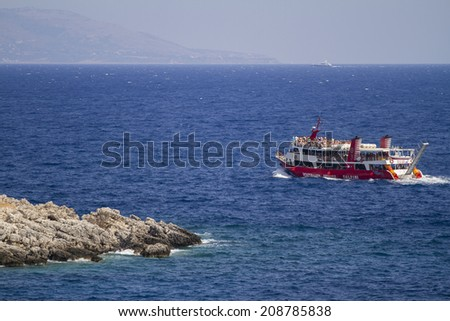 Zakynthos, Greece - June 30: Boats on the sea in Zakynthos, Greece on June 30, 2014.