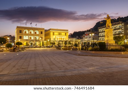 Zakynthos, Greece - October 6, 2017: Statue in front of the town hall in Solomos square in Zakynthos town, Greece.