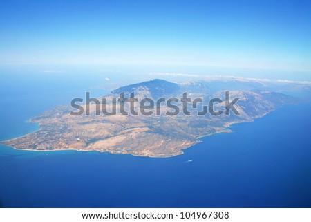 Zakynthos Island aerial view from plane - stock photo
