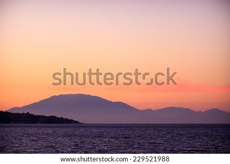 Zakynthos island sunset - stock photo