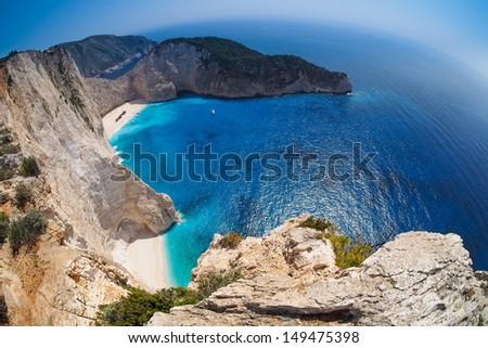 Zakynthos, Navagio beach, Shipwreck, Greece - stock photo