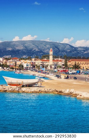 Zakynthos town in the morning, as seen from the port - stock photo