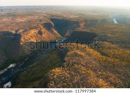 Zambezi river gorge from the air, Zambia/Zimbabwe - stock photo