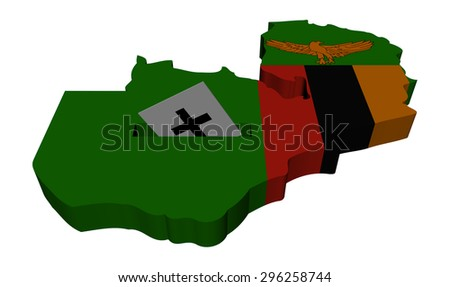 Zambia election map with ballot paper illustration - stock photo
