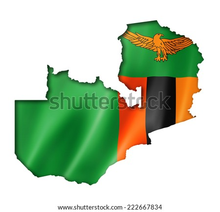 Zambia flag map, three dimensional render, isolated on white - stock photo