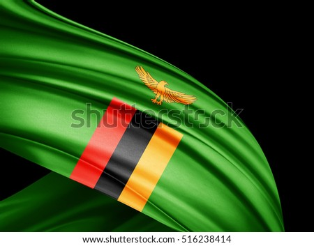 Zambia flag of silk with copyspace for your text or images and black  background -3D illustration