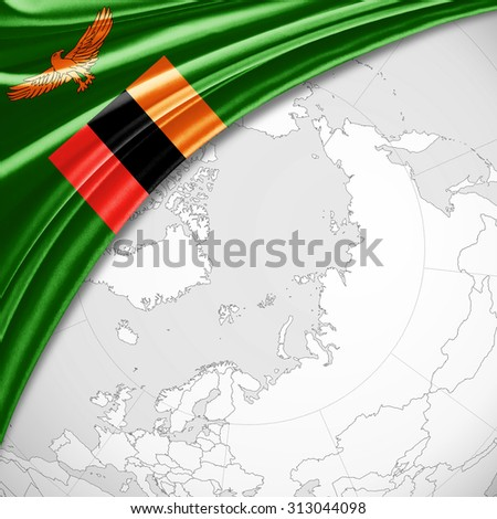 Zambia  flag  of silk with copyspace for your text or images and world map background - stock photo