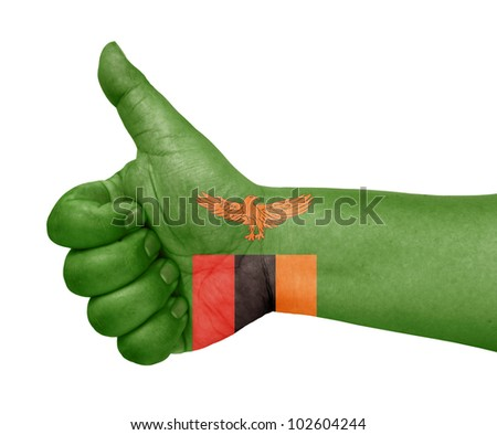 Zambia flag on thumb up gesture like icon - stock photo