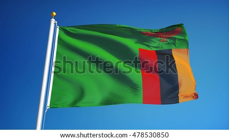 Zambia flag waving against clean blue sky, close up, isolated with clipping path mask alpha channel transparency