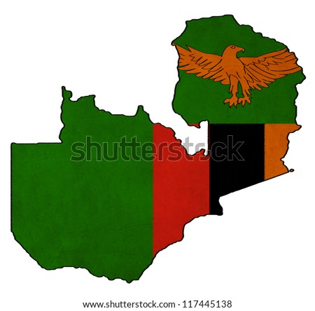 Zambia map on Zambia flag drawing ,grunge and retro flag series - stock photo