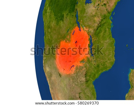 Zambia on planet Earth. 3D illustration with detailed realistic planet surface. Elements of this image furnished by NASA.