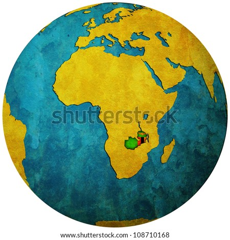 zambia territory with flag on map of globe isolated over white