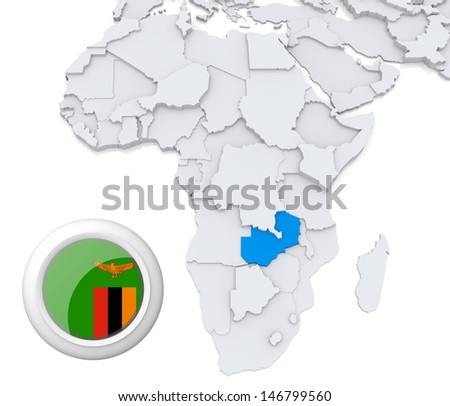 Zambia with national flag - stock photo