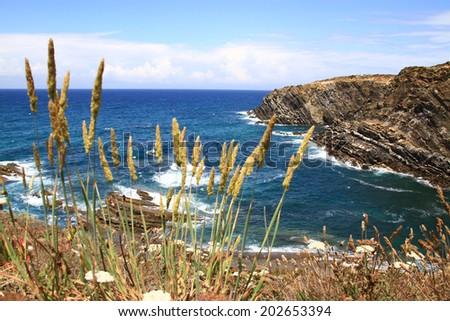 Zambujeira do Mar natural coastline, Alentejo, Portugal  - stock photo