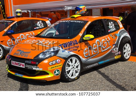 ZANDVOORT, THE NETHERLANDS - JULY 15: Two Renault Clio's from BS-Energy Racing Team at the RTL GP Masters of Formula 3 at Circuit Park Zandvoort on July 15, 2012 in Zandvoort, The Netherlands.