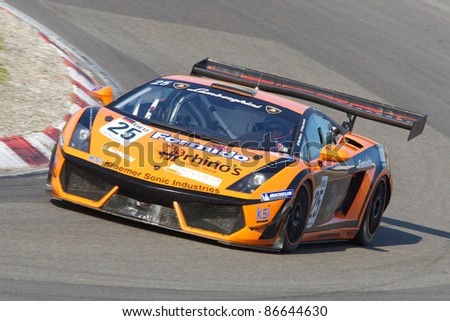 ZANDVOORT, THE NETHERLANDS - OCTOBER 14: Max Nilsson and Henry Zumbrink in the REITER ENGINEERING LAMBORGHINI GALLARDO racing on October 14, 2011 in the European GT3 in Zandvoort, The Netherlands
