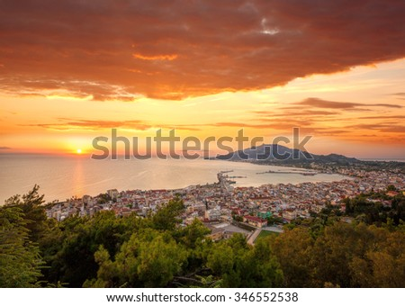 Zante town during sunrise on Zakynthos island in Greece - stock photo