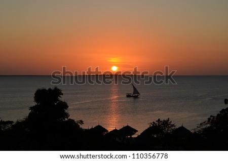 Zanzibar Sunset - stock photo