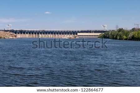 Zaporozhye hydro power plant on the river Dnepr. Ukraine