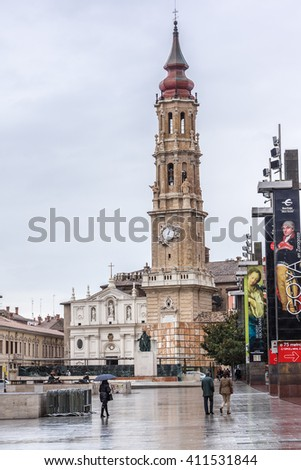 ZARAGOZA, SPAIN - NOVEMBER 21, 2013: View of Zaragoza historical center. Zaragoza is the capital city of the Zaragoza province and of the autonomous community of Aragon, Spain.